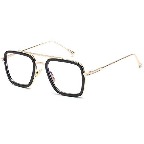 SHEEN KELLY Retro Sonnenbrille Quadratische Brillen Metallrahmen für Männer Frauen Klassiker Sonnenbrille Gold Piloten Auf blu Ray -