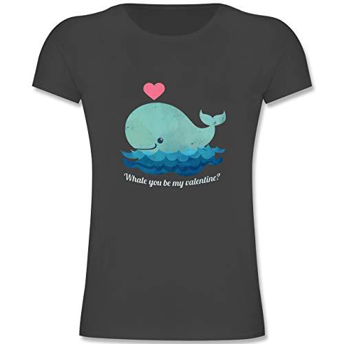 Anlässe Kinder - Whale You be My Valentine? - 164 (14-15 Jahre) - Anthrazit - F131K - Mädchen Kinder T-Shirt - Kinder Kostüm Valentine