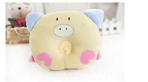 Domire-bebé recién nacido de terciopelo almohada almohada cabeza forma correcta amarillo cerdo...