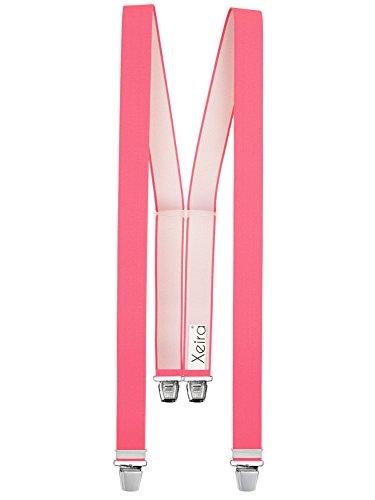 Xeira  Hochwertige Hosenträger in trendigen Uni/Neon und Gestreiften Design mit 4 Extra Starken XL Clips - Made in Germany - Schwarz/Braun/Grau/Orange/Neon Pink/Gelb (Normale Länge (One Size), Rosa)