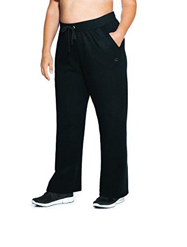 Champion Women's Plus Size Fleece Open Bottom Pant, Black, 3X - Fleece Open Bottom Pant