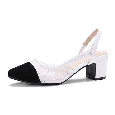 LvYuan Damen-Sandalen-Kleid Lässig Party & Festivität-PU-Blockabsatz-Andere-Schwarz Weiß Black