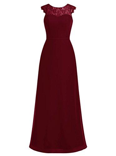 Dresstells, Robe de soirée Robe de mère de mariée Robe de demoiselle d'honneur mousseline dentelle longueur ras du sol Bordeaux