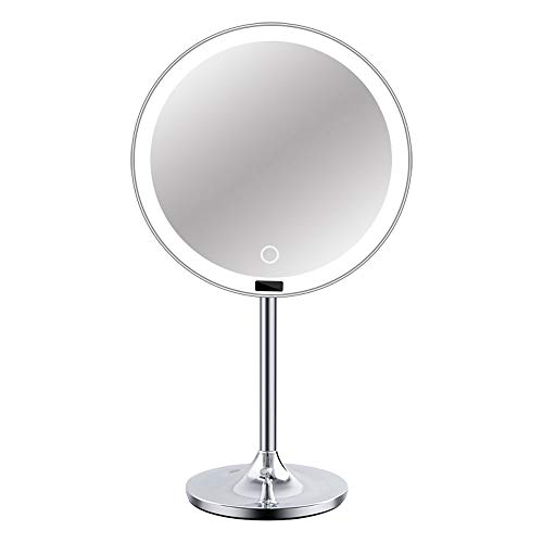 DDZY LED Espejo con Sensor,21 cm Redonda, atenuación sin Fin de, Brillo de Control táctil,...
