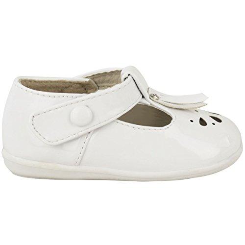 Filles Bébés Enfants Chaussures De Baptême Diamant Baskets Velcro Pointure De Bottes Blanc Verni