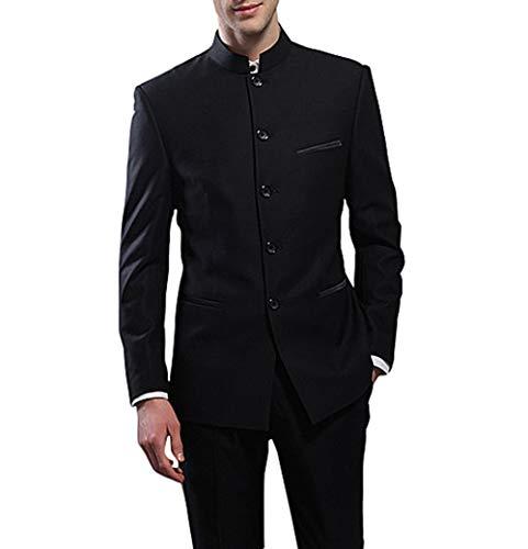 Suit Me Herren 2 Teilige Chinesische Stehkragen Aaum Anzuege Hochzeiten Party Smoking Anzug Sakko,Hose Tuxedos Schwarz XL - Tuxedo-anzug