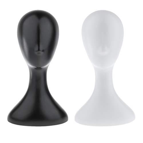 perfk 2 Pièces 16'' Tête de Mannequin en Plastique de Qualité Supérieure Léger et Durable