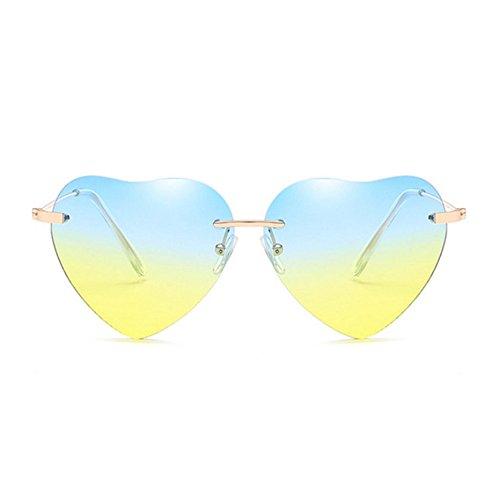 Aoligei Retro Love Ocean Slice Sonnenspiegel Street Beat Pfirsich herzförmige Sonnenbrille (Beat Slice)