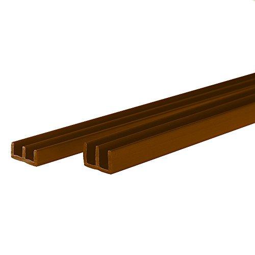 Glasführungsprofil in Braun 120 cm 2er Set: obere + untere Glasführungsschiene geeignet für eine Glasstärke von 6 mm