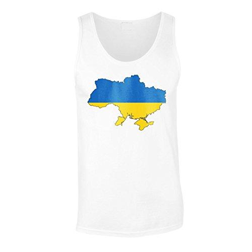 Nuova Mappa Del Mondo Della Bandiera Di Ucraina Arte Art canotta da uomo i628mt White