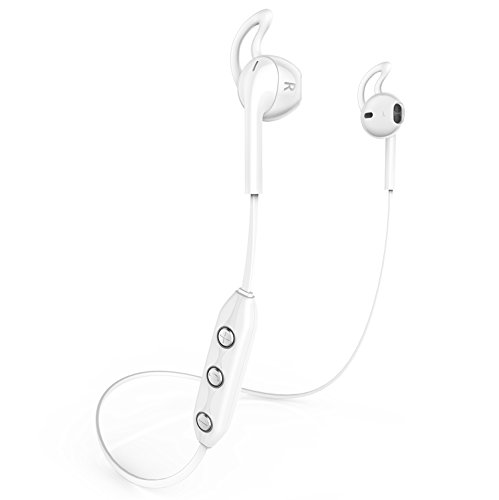 Honstek H1 Wireless Bluetooth 4.1 Sport Kopfhörer, Ohrhörer, Headset, Ohrbügel, Earbuds für iPhone, Samsung Galaxy, Android Handys, Laptops, Tablets, Desktop und Smart TV (Weiß)
