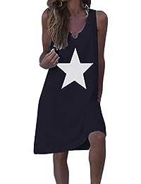 Vestidos Cortos Mujer ღSUNNSEANღ Vestidos Verano Estampado de Estrella Color Liso sin Mangas Vestidos de Chaleco Verano Playa Vestidos Casual Suave Playeros Vestidos de Verano Mini Falda