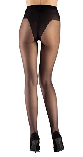 tarqa-Transparente e Satin Look Leggings collant Lycra Strumphose con slip tanga-20il nero lucidi nero Large