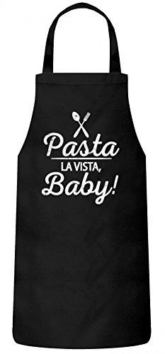 ShirtStreet Kochen Koch Küchen Party Frauen Herren Barbecue Baumwoll Grillschürze Kochschürze Pasta La Vista Baby, Größe: OneSize,Schwarz