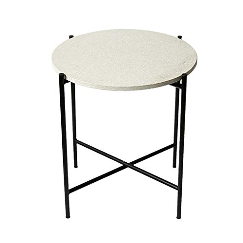 Table Basse Ronde créative Minimaliste Nordique, Salon combiné Fer forgé en terrazzo Table d'appoint Ronde Petit Appartement (Couleur : Tooth White)