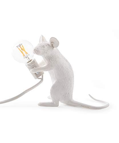 Seletti Mouse Lamp-Sitzend Weiß, Harz, 18 x 7 x 12,5 cm -