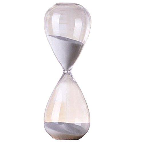 SODIAL(R)60 Min weiss durchlaessig Glas Sanduhr Zeitmesser kreativ Geschenk Sanduhr