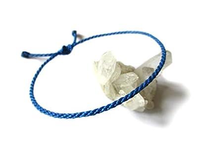 Bracelet Bleu Roi/Royal Cordon Souple de 2 mm | Corde tressée Avec Du Fil Ciré | Ajustable et Résistant à l' Eau | Réf.#25
