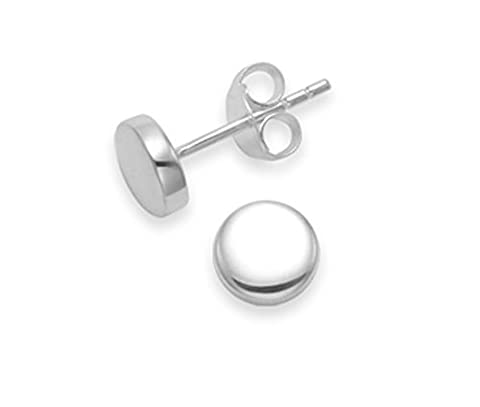 Sterling Silver Highly polished round studs - size: 6mm x 2mm deep 5340. Shipped in our quality Silver Gift Box by 1st class mail