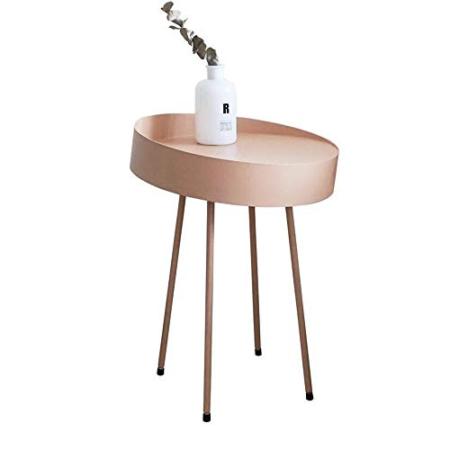 DEO Table de bout ronde de café à manger Salon Table à thé moderne Accueil Canapé Décor Petits espaces Table d'appoint ronde Rose (taille : 40 * 58cm)