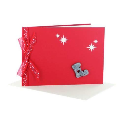 exklusive Weihnachtskarten mit Filzstiefel DIN A 6 mit Schleife