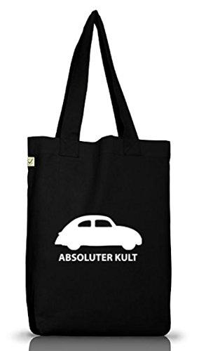 Shirtstreet24, ABSOLUTER KULT - AUTO, Jutebeutel Stoff Tasche Earth Positive Black