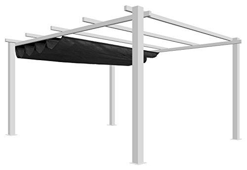 Pergola toile et aluminium Top Prix autoportée 4,2x3,2m - Blanc toile Grise