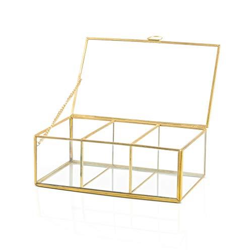 Black Velvet Studio Deko-Box Retro 3, Glas und Messing, Color transprarente und Gold, 20x12x7 cm. (Black Gläser Gold)