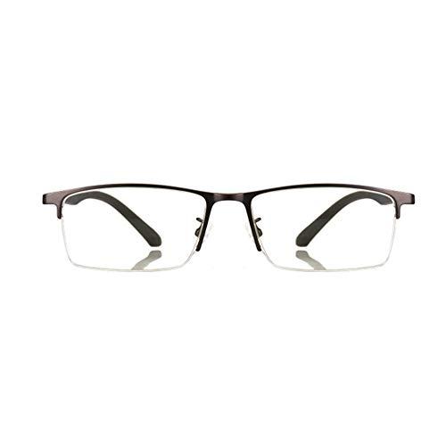 BSHOEMR Beobachten Sie Mobile Brillen,Entlastung der Augen vor Müdigkeit,Computer Lesen EyewearAnti-Blaue Lesebrille Metall-Halbrahmen TR Spiegelbeine,Glasses Anti Blue Light-C-2-+400degrees