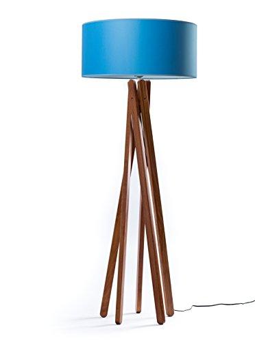 Hochwertige Design Stehlampe Tripod mit mit Textil Schirm aus Chintz in Royal blau und Stativ/Gestell aus dunklem Holz Echtholz in Nussbaumfarben | H= 160cm | Stehleuchte | Handgefertigte Leuchte Royal-lampe
