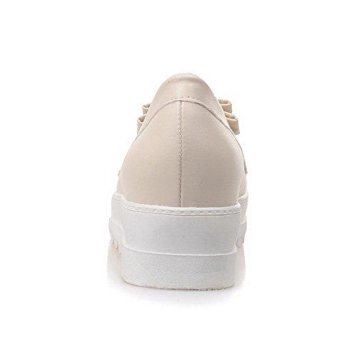 VogueZone009 Damen Weiches Material ZRund Zehe Mittler Absatz Rein Pumps Schuhe Cremefarben