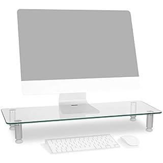 Duronic DM052-3 Réhausseur d'écran/Support en Verre pour écran d'ordinateur ou Ordinateur Portable ou écran TV (70 x 24 cm)