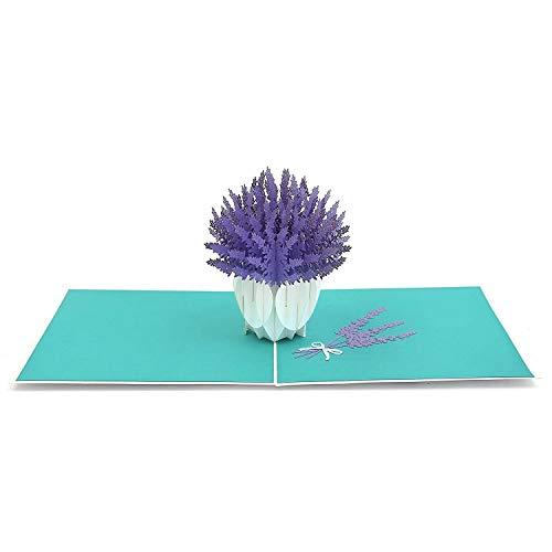 3D Blumenkarte - Lavendel Blumenstrauß Pop-Up Karte für Geburtstag, gute Besserung, Dankeskarte - Handgemachte Klappkarte mit Umschlag, kreativ Geburtstagskarte (Danke-karte 50)