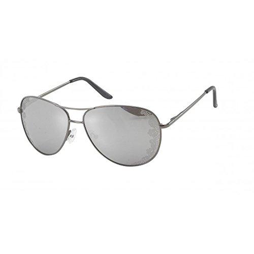 Chic-Net Sonnenbrille Blumenornamente Pilotenbrille getönt verspiegelt 400UV Pornobrille Fliegerbrille metallic grau
