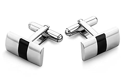 Miore Stainless Steel Cufflinks with Black