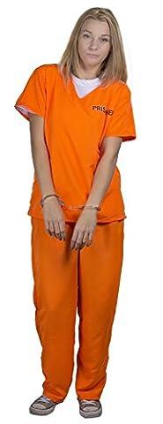 Femme Costumes De Prisonniers - Déguisement de prisonnier orange avec un haut