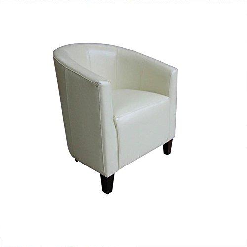 WJS Tub Leder Stuhl Sofa Sessel für Dining Living Bürostuhl (Farbe : Weiß)