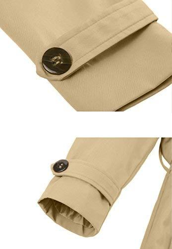 Wantdo – Klassischer Zweireiher Damen Trenchcoat in Khaki mit Gürtel - 6