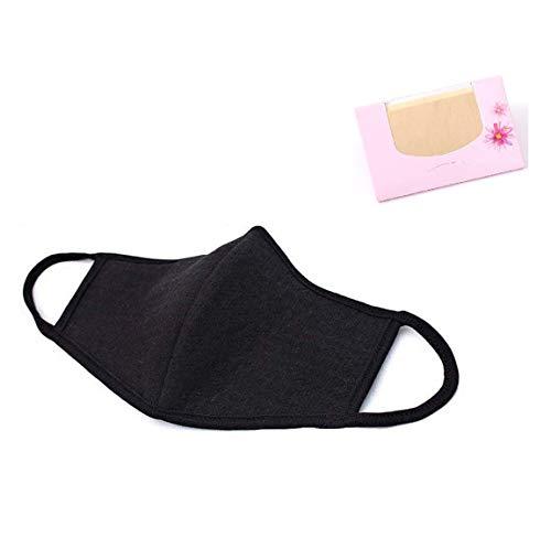 Made in Korea Unisex Kpop Mask 3D Black Cotton Face Mouth Mask BTS EXO Mask + SoltreeBundle Oil Blotting Paper 50pcs -