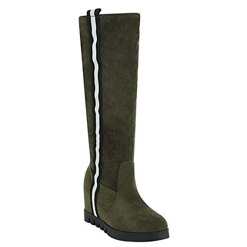 Mitte Kalb Casual Stiefel (Bigtree Damen Stiefel Mitte der Kalb Komfortable Flache Plattform Klassisch erhöht ziehen auf Winter warme Casual Streifen Schnee Lange Stiefel grün)