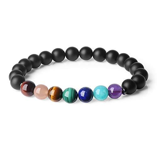 COAI® Geschenkideen Yoga-Armband aus Eingeschliffenem Onyx und 7 Chakra Gebetsarmband in Größe M für Damen und Herren