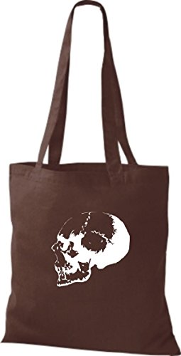 ShirtInStyle Stoffbeutel Skull Totenkopf Schädel diverse Farbe chocolate