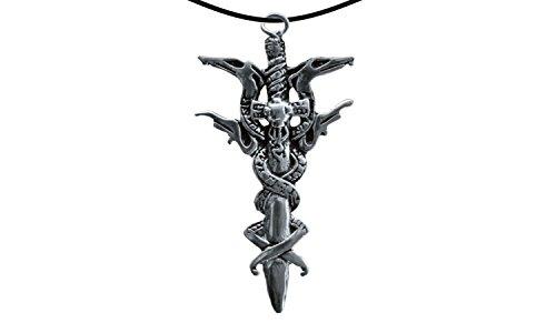 Erlebnis-Mittelalter Wikinger / LARP / keltisch / Mittelalter Anhänger, verzinnt und nickelfrei (Anhänger Schwert mit Schlangen silber)