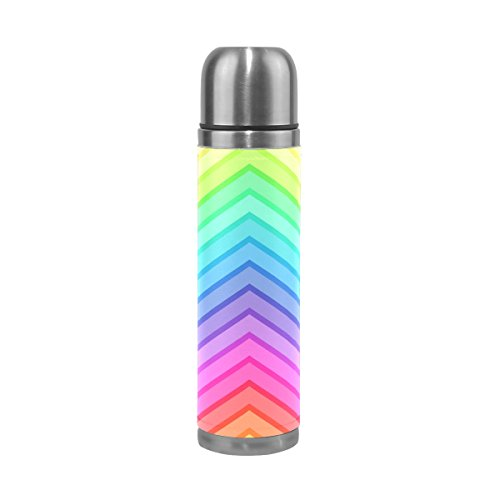 DragonSwordlinsu COOSUN Taza Térmica de Viaje de Piel sintética con Diseño de Arcoíris Chevrón de Acero Inoxidable Termo Botella de Agua aislada al Vacío a Prueba de Fugas