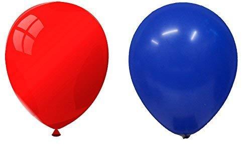 INERRA Globos - Paquete de 50 Mezclado (25 x Azul TURQUÍ& 25 x Rojo) Látex 10' for Helio O Aire -Cumpleaños Y Boda