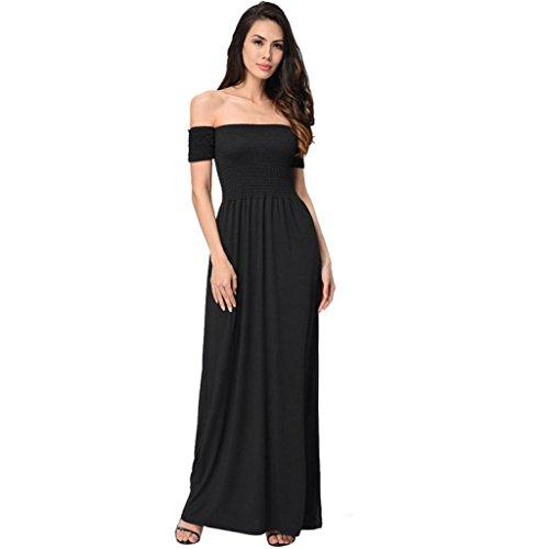 Hmeng Kleid, Trägerlose kurzärmelige Schulter Frauen aus Schulter Sommer Strand Urlaub Abend Party lange Maxi gefaltete Kleid Schwarz