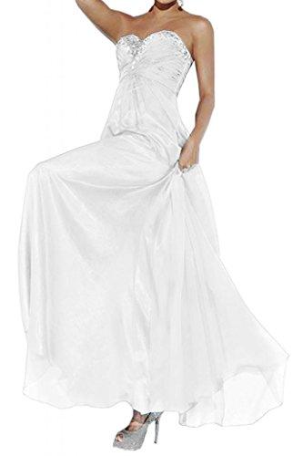 Toscane mariée abendmode empire chiffon abendkleider de longueur fixe party ballkleider demoiselle dhonneur Blanc - blanc