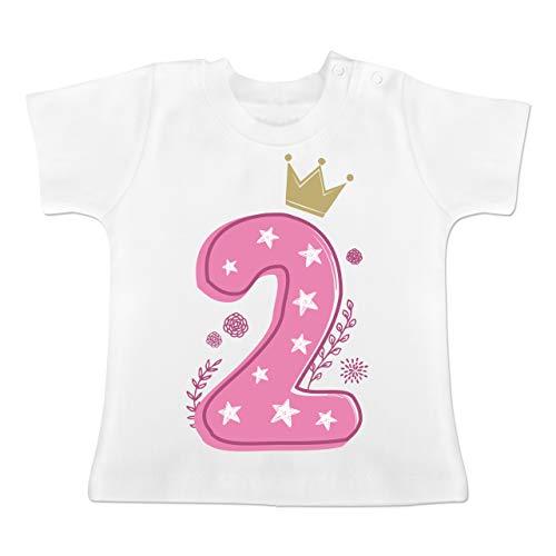 Geburtstag Baby - 2. Geburtstag Mädchen Krone Sterne - 18-24 Monate - Weiß - BZ02 - Baby T-Shirt Kurzarm (Monat T-shirt Mädchen)