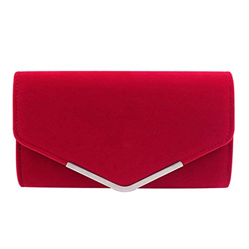 (Clasichic Damen Frauen Clutch Abendtasche mit Strassstein Party Kettentasche Hochzeit Clutch (Rot))