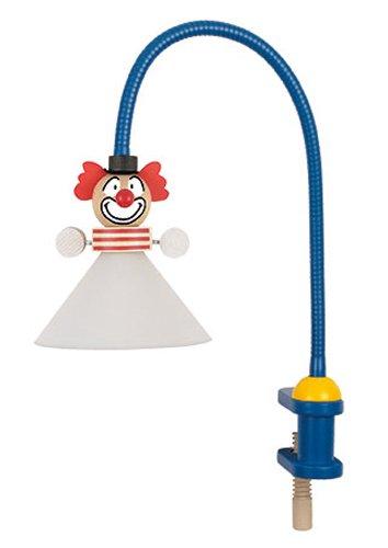 Niermann-Standby 233 - Klemmleuchte Clown Flexrohr ca. 50 cm, Klemme aus Holz, Schirm aus Bruchsicheren Polycarbonat, 1 x G4, Schukostecker mit Zwischenschalter